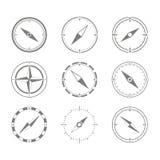 Reeks zwart-wit pictogrammen met kompas Royalty-vrije Stock Foto's