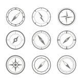 Reeks zwart-wit pictogrammen met kompas Royalty-vrije Stock Fotografie