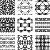 Reeks zwart-witte abstracte geometrische naadloze patronen Royalty-vrije Stock Fotografie