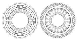 Reeks zwart-witte bohokaders Inheems patroon royalty-vrije illustratie