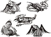 Reeks zwart-witte draken Royalty-vrije Stock Afbeelding