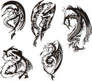 Reeks zwart-witte draken Stock Afbeelding