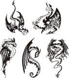 Reeks zwart-witte draken Stock Afbeeldingen
