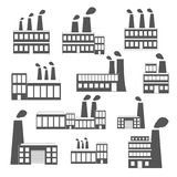 Reeks zwart-witte fabriekspictogrammen Royalty-vrije Stock Afbeelding