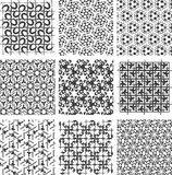 Reeks zwart-witte geometrische patronen Stock Foto