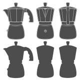 Reeks zwart-witte illustraties van geiserkoffiezetapparaten Geïsoleerde vectorvoorwerpen Stock Foto