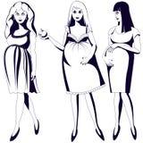 Reeks zwart-witte jonge zwangere vrouwen Royalty-vrije Stock Foto