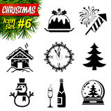 Reeks zwart-witte Kerstmispictogrammen Royalty-vrije Stock Fotografie