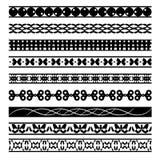 Reeks zwart-witte naadloze geometrische vormen en grenzen 04 Stock Afbeelding
