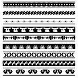 Reeks zwart-witte naadloze geometrische vormen en grenzen 05 Stock Fotografie
