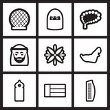 Reeks zwart-witte pictogrammen Arabische Emiraten Royalty-vrije Stock Foto's