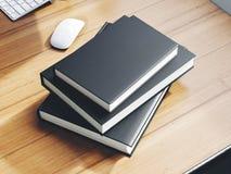 Reeks zwarte brandmerkende boeken op de lijst 3d Stock Fotografie
