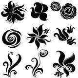 Reeks zwarte elementen van het bloemontwerp vector illustratie