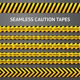 Reeks zwarte en gele naadloze voorzichtigheidsbanden royalty-vrije illustratie