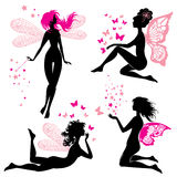 Reeks zwarte en roze meisjes van de silhouetfee met vlinders Royalty-vrije Stock Foto