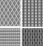 Reeks zwarte geometrische naadloze patronen Royalty-vrije Stock Afbeeldingen