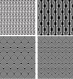 Reeks zwarte geometrische naadloze patronen met optische illusie Stock Foto's
