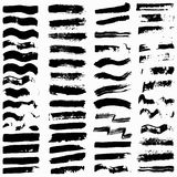 Reeks zwarte grungebanners voor uw ontwerp Stock Fotografie