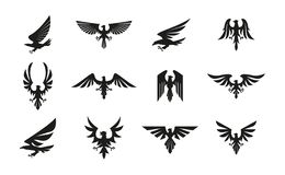 Reeks zwarte heraldische adelaarssymbolen op witte achtergrond royalty-vrije illustratie