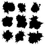 Reeks Zwarte inkt vectorvlekken vector illustratie