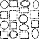 Reeks zwarte kaders met ornamenten en wervelingen Royalty-vrije Stock Afbeeldingen