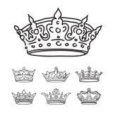Reeks zwarte kronen royalty-vrije illustratie