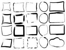 Reeks zwarte lege grungekaders Vectorillustratie van borstel Stock Foto's