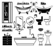 Reeks zwarte pictogrammen van badkamers Stock Fotografie