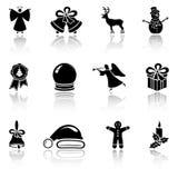 Reeks zwarte pictogrammen van Kerstmis stock illustratie
