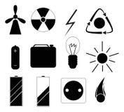 Reeks zwarte pictogrammen in verband met energie Stock Fotografie