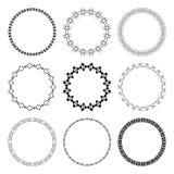Reeks zwarte ronde kaders met ornament Stock Afbeeldingen