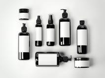 Reeks zwarte schoonheids kosmetische plastic containers het 3d teruggeven Stock Foto