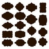 Reeks zwarte silhouetkaders voor kentekens Stock Afbeeldingen