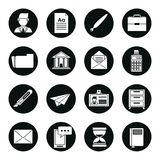 Reeks zwarte silhouetten van bedrijfspictogrammen in ronde kaders royalty-vrije illustratie