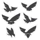 Reeks zwarte silhouetten van bevallig vliegend adelaarsembleem voor labl Stock Foto's