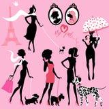 Reeks zwarte silhouetten van modieuze meisjes met hun huisdieren royalty-vrije illustratie