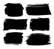 Reeks zwarte slagen van de inktborstel Stock Foto