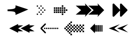 Reeks zwarte vectorpijlen Pijlpictogram Pijl vectorpictogram pijl Pijlen vectorinzameling stock foto's