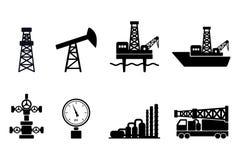 Reeks zwarte vlakke vectorolie en gaspictogrammen: kust en zeeboringstekens, boringsinstallatie, de pomp van de uitlopersstaaf, g royalty-vrije stock foto's