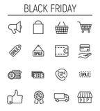 Reeks zwarte vrijdagpictogrammen in moderne dunne lijnstijl Royalty-vrije Stock Afbeeldingen