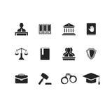 Reeks zwarte wet en rechtvaardigheidspictogrammen Stock Afbeelding