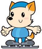 Reeksbeeldverhaal weinig hond rennende schaatser Royalty-vrije Stock Foto's