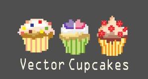 Reeksen cupcakes voor decoratie Royalty-vrije Stock Afbeeldingen