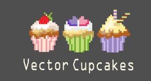 Reeksen cupcakes voor decoratie Royalty-vrije Stock Afbeelding
