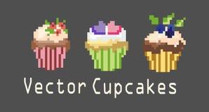 Reeksen cupcakes voor decoratie Stock Afbeeldingen