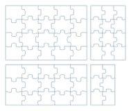 Reeksen van de vectorillustratie van raadselstukken 2 x 3, 3 x 4, 3 x 5, het beeld van 4 x 5 het overzichtsstukken van het figuur royalty-vrije illustratie