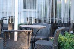 Reeksen van geweven tuinmeubilair Royalty-vrije Stock Foto's