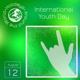 Reekskalender Vakantie rond de Wereld Gebeurtenis van elke dag van het jaar Internationale de Jeugddag 12 August Sign van de hoor Stock Fotografie