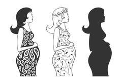 Reekssilhouetten van een zwanger meisje vector illustratie