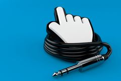 Reel of audio cable with cursor. Isolated on blue background. 3d illustration Royalty Free Stock Images